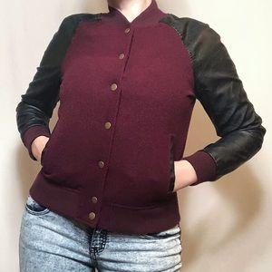 Forever 21 burgundy + black varsity bomber jacket